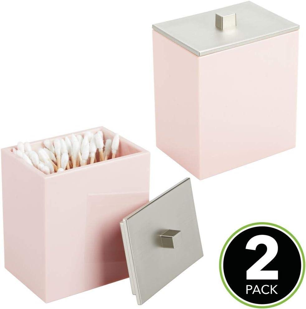 mDesign Juego de 2 dispensadores de discos de algodón o cajas para bastoncillos – Botes con tapa rectangulares para productos de aseo – Envase para cosméticos de plástico – rosa y plateado: Amazon.es: Hogar