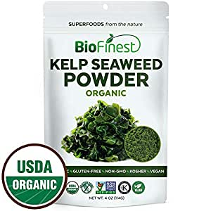 Biofinest Kelp Seaweed Powder -100% Pure Antioxidants Superfood - USDA Certified Organic Kosher Vegan Raw Non-GMO - Boost Digestion Weight Loss Detox - for Smoothie Beverage (4 oz Resealable Bag)