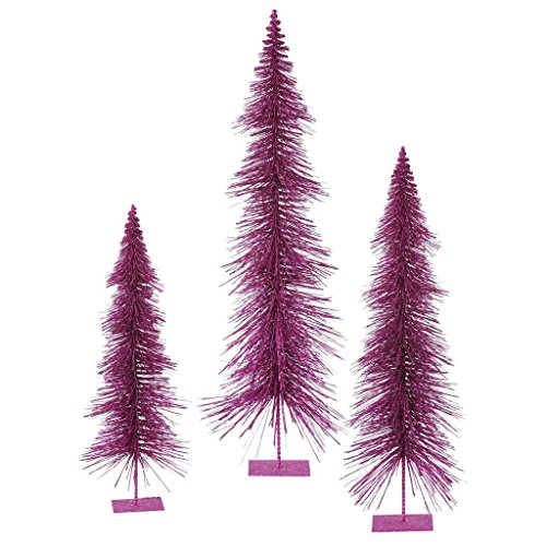 (3 Piece Glitter Layered Christmas Tree Set Color: Magenta)