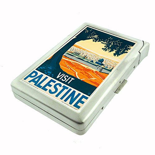 Perfection In Style Metal Cigarette Case with Built In Lighter Vintage Travel Posters Design 006