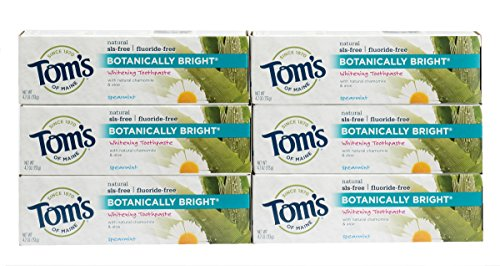 (Tom's Of Maine Natural Fluoride Free Botanically Bright Toothpaste, Spearmint, 4.7 Ounce, Pack of 6)