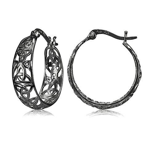 Black Flashed Sterling Silver High Polished Celtic Knot Filigree Hoop Earrings