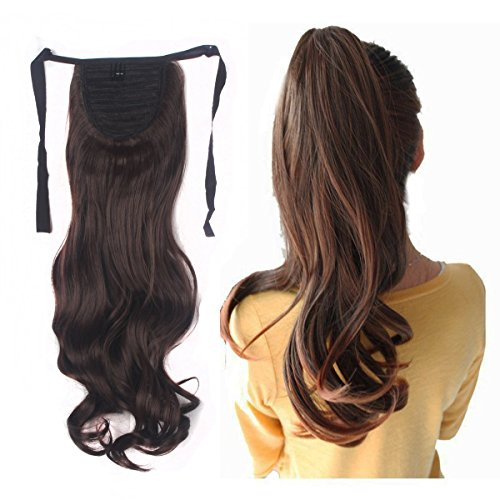Haironline One Piece Tie Up Ponytail Clip in Hair Extensions Hairpiece Binding Pony Tail Extension for Girl Lady Woman medium brown
