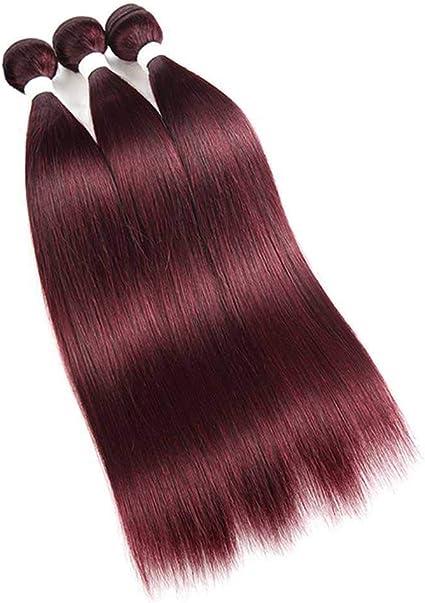 Extensiones de cabello humano brasileño rubio 613 3/4 paquetes rojo borgoña precoloreado recto Remy extensiones de trama 8 – 26 pulgadas