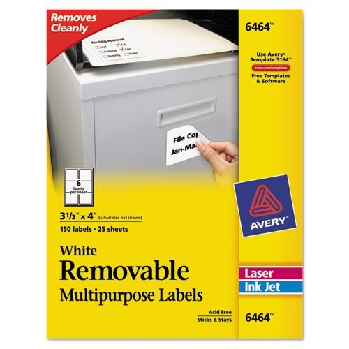 - AVERY-DENNISON 6464 Removable Inkjet/Laser ID Labels, 3-1/3 x 4, White, 150/Pack