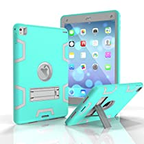 "MAKEIT CASE ipad Air 2 Case with Stand ipad Pro 9.7"" Case 3in 1 Heavy Duty Protection Kickstand Combo Hybrid Impact Silicone Hard Case Cover for ipad Air 2 and ipad Pro 9.7"" (C3-Mint Green/Gray)"