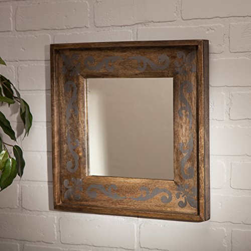 The Gerson Company 14 x14 Meadowlark Home Collection Hand Made Mango Wood Fleur Dis Lis Pattern Mirror