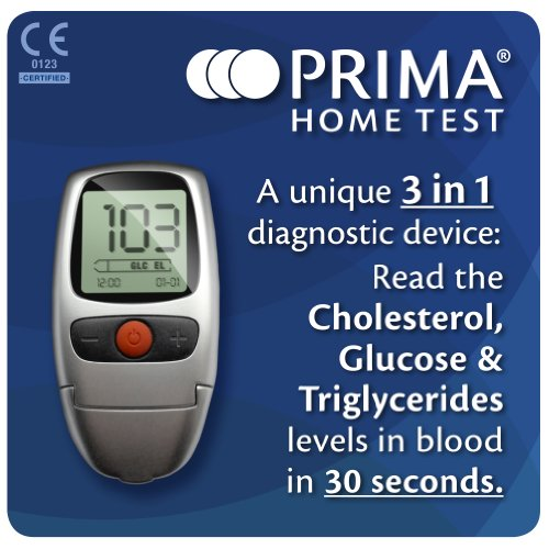 Prima Home Test Multicare-In Meter for Glucose/ Cholestrol/ Triglycerides (Best At Home Glucose Monitor)