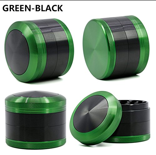 Bliss Brands 4 Piece Aluminum Alloy Herb Grinder with Convex Cap (green)