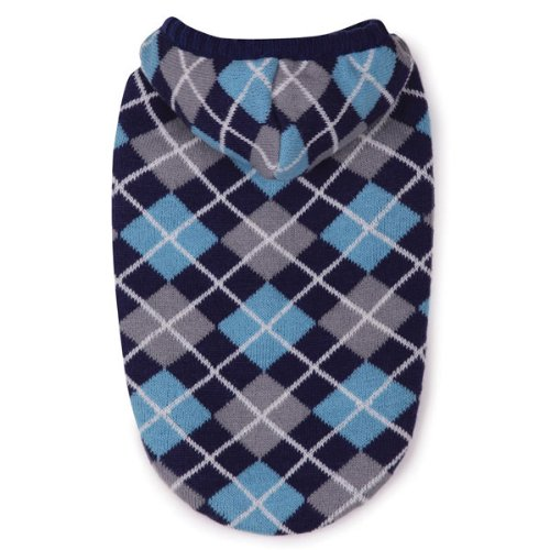 East Side Collection Acrylic Hooded Argyle Dog Sweater, Small/Medium, 14-Inch, Navy - East Side Collection Dog Clothes
