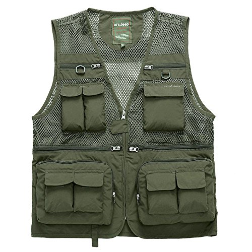 Cccken Men's Outdoor Military Multi Pockets Mesh Travel Coat Fishing Air Vest(868#Army Green US L=Asia 2XL)