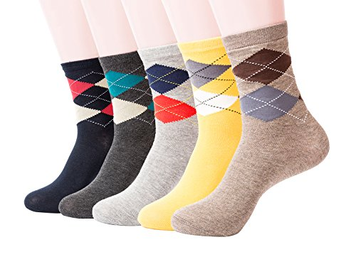 Mens Soft Comfortable Durable Mid-Calf Crew Socks - Fun Argyle (5 pack)