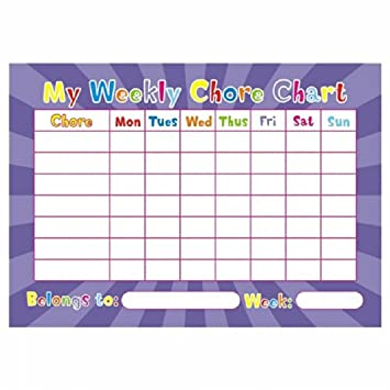 Weekly Chore Chart Children Behaviour Parent Kid AmazonCoUk Toys
