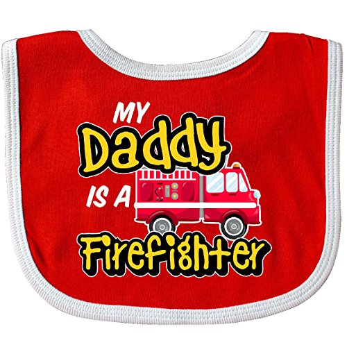 Inktastic - My Daddy is a Firefighter with Fire Truck Baby Bib Red/White 2f95c