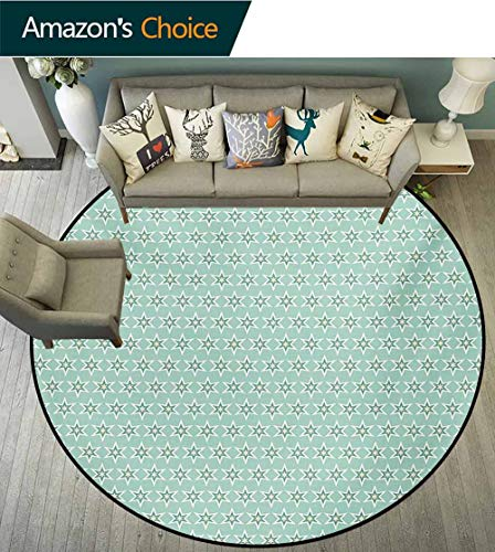 Turquoise Non-Slip Area Rug Pad Round,Monochrome Star Pattern Horizontal Rows Space Inspirations Lines Background Protect Floors While Securing Rug Making Vacuuming,Round-63 Inch