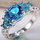 2ct Women 925 Silver Ocean blue Sapphire Wedding Ring Engagement Size 7-9#by pimchanok shop (7, Sapphire)
