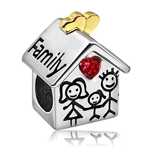 JMQJewelry Heart Family House Birthstone Mon Dad Girl Cha...