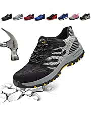 DESTURE Steel Toe Safety Work Shoes for Men Women Mid-Sole Fashion Outdoor Hiking Sneakers