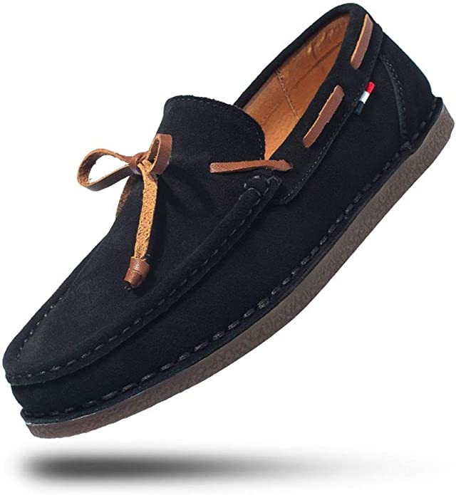 Lvjuzhuangshiame Men Driving Penny Loafer Boat Moccasins Slip-on Style Microfiber Leather Casual Lightweight Stitching Shoes