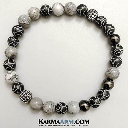 ENERGY: Hand Carved Black Jade | Silver Crazy Lace Agate Beaded Bracelets | Yoga Reiki Healing Chakra BoHo Spiritual Meditation Jewelry ()