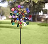 Plow & Hearth 53929-BRT Solar Sparkler Wind Spinner Powder-Coated Metal with LED Lights, 24' Diameter x 10' D x 75' H, Multicolored