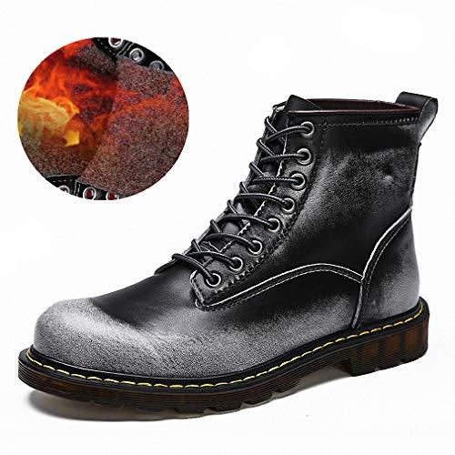 (Tebapi Mens Backpacking Boots Fashion Men Winter Shoes Solid Color Fur Snow Boots Plush Inside Antiskid Bottom Keep Warm Waterproof Ski Boots Big Size 38-47 Fur Gray 6)