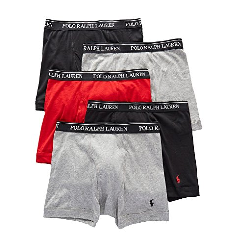 Polo Ralph Lauren Classic Fit 100% Cotton Boxer Briefs - 5 Pack (LCBBP5) M/Andover/Red/Black