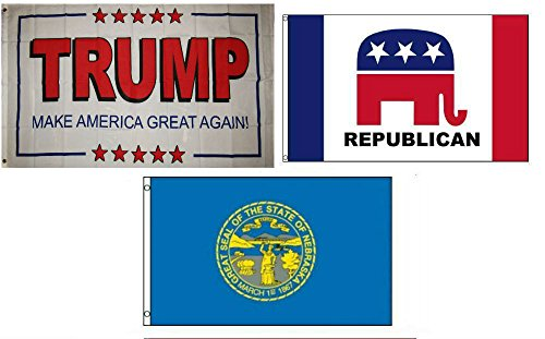 Knife Rescue Bravo (ALBATROS 3 ft x 5 ft Trump White #2 with Republican with State of Nebraska Set Flag for Home and Parades, Official Party, All Weather Indoors Outdoors)