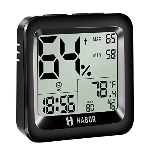 Habor Digital Thermo-hygrometer with Time Display, 2 Years Warranty,...
