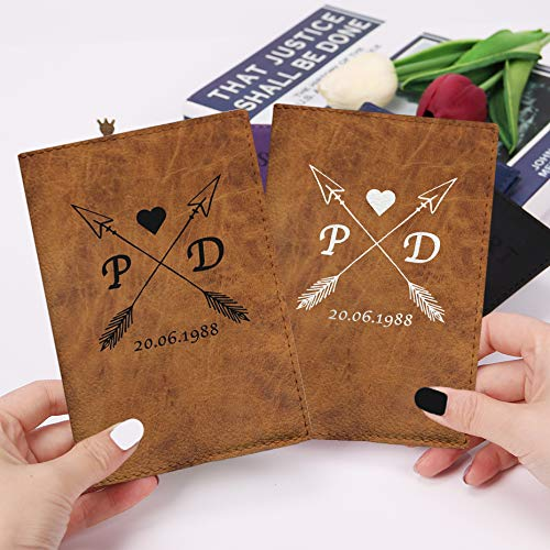 (Brown couple passport holders 2in1 pack eco leather covers for documents family wedding gifts idea)