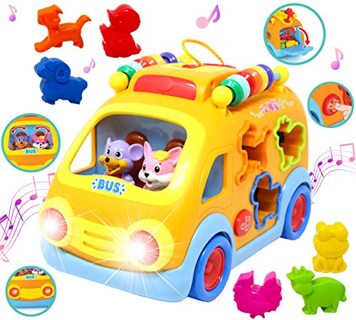 (JOYIN Shapes and Sounds Musical School Bus Baby Toy with 3D Animals, LED Light Up for Boys and Girls, Infant, Toddler Interactive Learning, Educational Gift, School Classroom Prize and Holiday Toy )