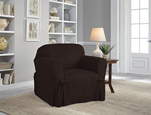 Serta Relaxed Fit Smooth Suede Furniture Slipcover for T-Sofa, Taupe