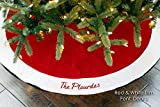 "Personalized 54"" Christmas Tree Skirt in Traditional Red or Burgundy Velvet with Ivory/Cream or White Quilted Trim"