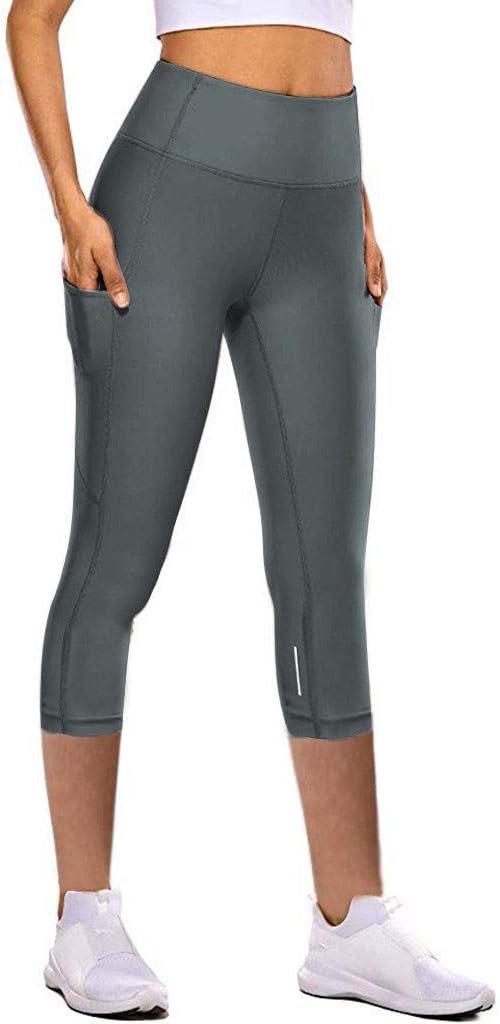 Goldweather Women High Waist Yoga Capris Pants,Stretchy Skinny Seven-Lengths Running Workout Leggings XL,Purple
