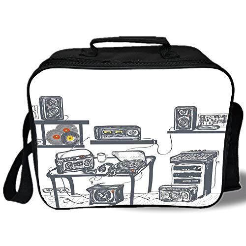 (Insulated Lunch Bag,Modern,Recording Studio with Music Devices Turntable Records Speakers Digital Illustration,Cadet Blue,for Work/School/Picnic, Grey)