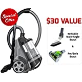 Ovente ST2620B Bagless Canister Cyclonic Vacuum – HEPA Filter – Includes Pet/Sofa, Bendable Multi-Angle, Crevice Nozzle/Bristle Brush, Retractable Cord – Featherlite, Black