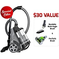 Ovente Bagless Canister Cyclonic Vacuum – HEPA Filter – Includes Pet/Sofa Brush, Bendable Multi-Angle Brush, Crevice Nozzle/Bristle Brush, Retractable Cord – Featherlite – ST2620 Series (Black)