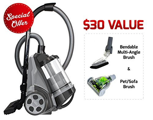 Ovente ST2620B Bagless Canister Cyclonic Vacuum - HEPA Filter - Includes Pet/Sofa, Bendable Multi-Angle, Crevice Nozzle/Bristle Brush, Retractable Cord - Featherlite, -