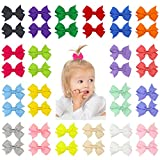 QtGirl 40pcs 2'' Mini Hair Bow Grosgrain Ribbon Hair Bows with Alligator Clips for Baby Girls Toddlers Kids in Pairs