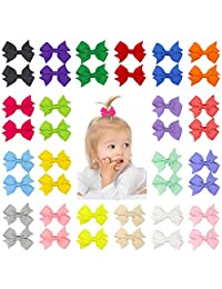 "QtGirl 40pcs 2"" Pinwheel Hair Bows Grosgrain Ribbon with Clips for Baby"