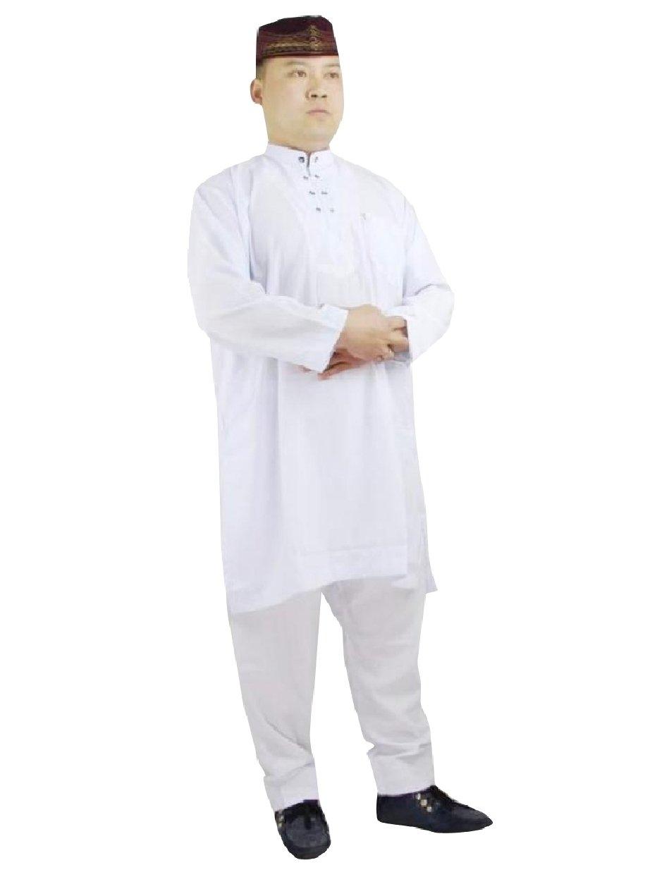 Abetteric Men 2-Piece Embroidery Islamic Mandarin Collar Muslim Salwar Sets White 52