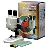 AMSCOPE-KIDS SE100Z-LED Portable Binocular Stereo Microscope, WF10X and WF20x Eyepieces, 20X and 40X Magnification, 2X Objective, LED Light Source, Reversible Black/White Stage Plate, Battery-Powered