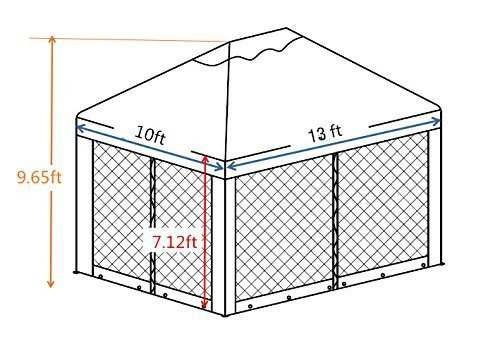Abba Patio 10 x 13 Feet Gazebo Soft Top Fully Enclosed Garden Canopy with Mosquito Netting, Brown