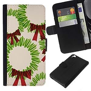 WINCASE Cuadro Funda Voltear Cuero Ranura Tarjetas TPU Carcasas Protectora Cover Case Para HTC Desire 820 - Arte de la Navidad dibujo lazo rojo verde