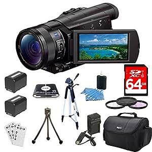 Sony FDRAX100/B FDR-AX100 FDRAX100 AX100 4K Video Camera w/ 3.5-Inch LCD (Black) Bundle w/ 64GB Memory Card, Gadget Bag, Battery (2), Battery Charger, Filter Kit, Memory Card Reader, Full Size Tripod, Mini Tripod, Screen Protectors and Cleaning Kit