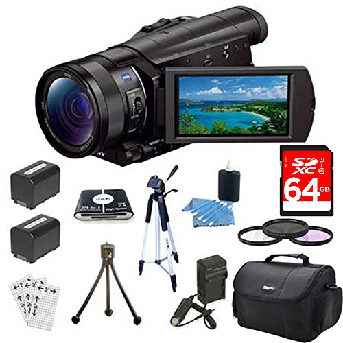 Sony FDRAX100/B FDR-AX100 FDRAX100 AX100 4K Video Camera w/ 3.5-Inch LCD (Black) Bundle w/ 64GB Memory Card, Gadget Bag, Battery (2), Battery Charger, Filter Kit, Memory Card Reader, Full Size Tripod, Mini Tripod, Screen Protectors and Cleaning Kit by Sony