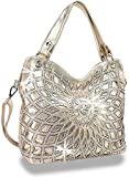 Zzfab Double Handles Starburst Bling Purse Cross Body (Gold)