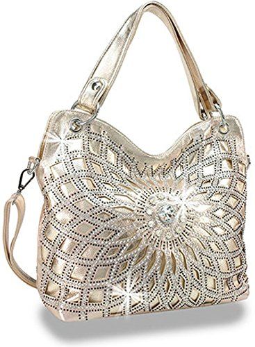 Zzfab Double Handles Starburst Bling Purse Cross Body (Gold) by Zzfab