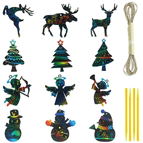 Masonicbuy 36Pcs Rainbow Color Scratch Art for Christmas Ornaments Craft Kit Toys Include Snowman, Christmas Tree, Reindeer and Angel