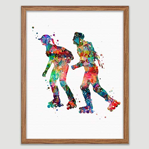 Couple Skating Watercolor Poster Roller Skating Art Couple Skater Print Sports Decor Roller Skater Wall Art Anniversary Great Gift for Roller Skater (Poster Skating Roller)